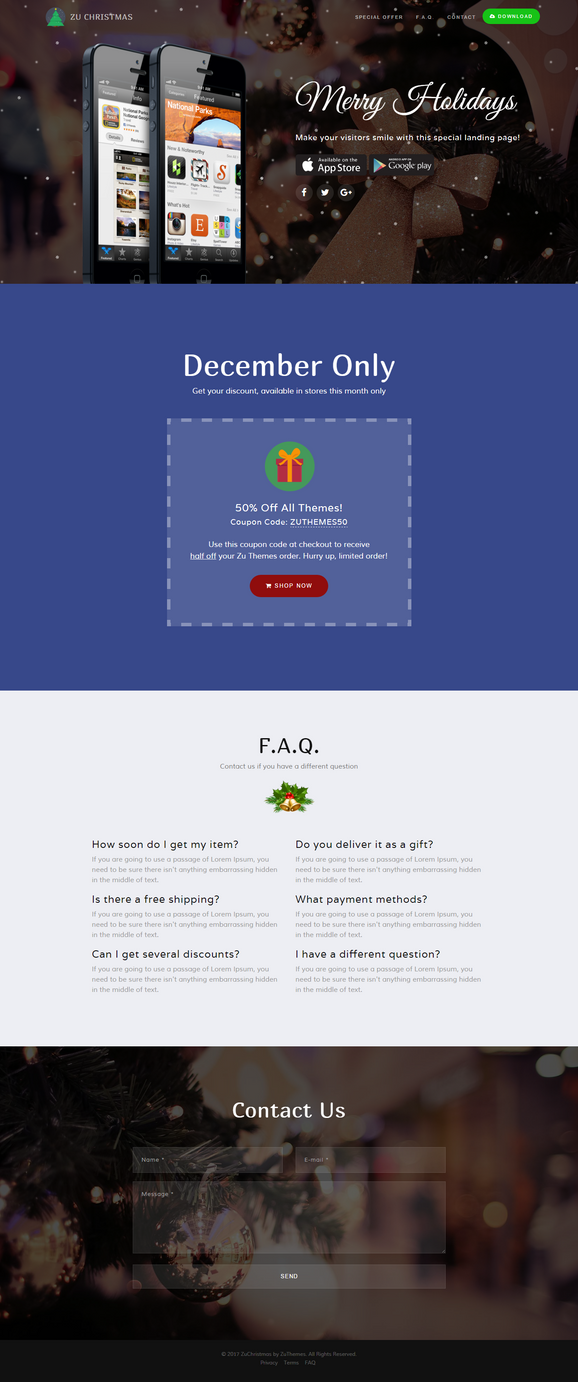 ZuChristmas - Free Landing Page for Holidays by zuthemes