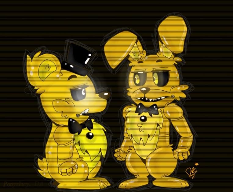 Golden Freddy and Springtrap!!!! by ponyrlucy