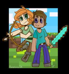 Minecraft_Steve And Alex by ponyrlucy