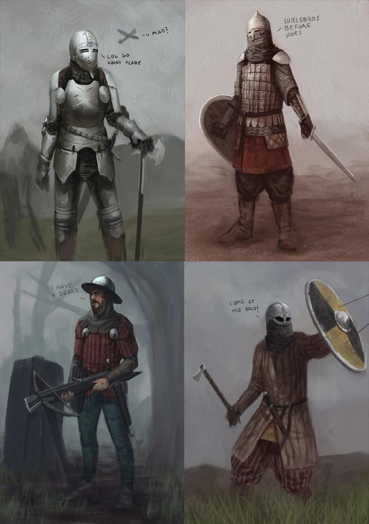 Medieval warriors by Kamikazuh