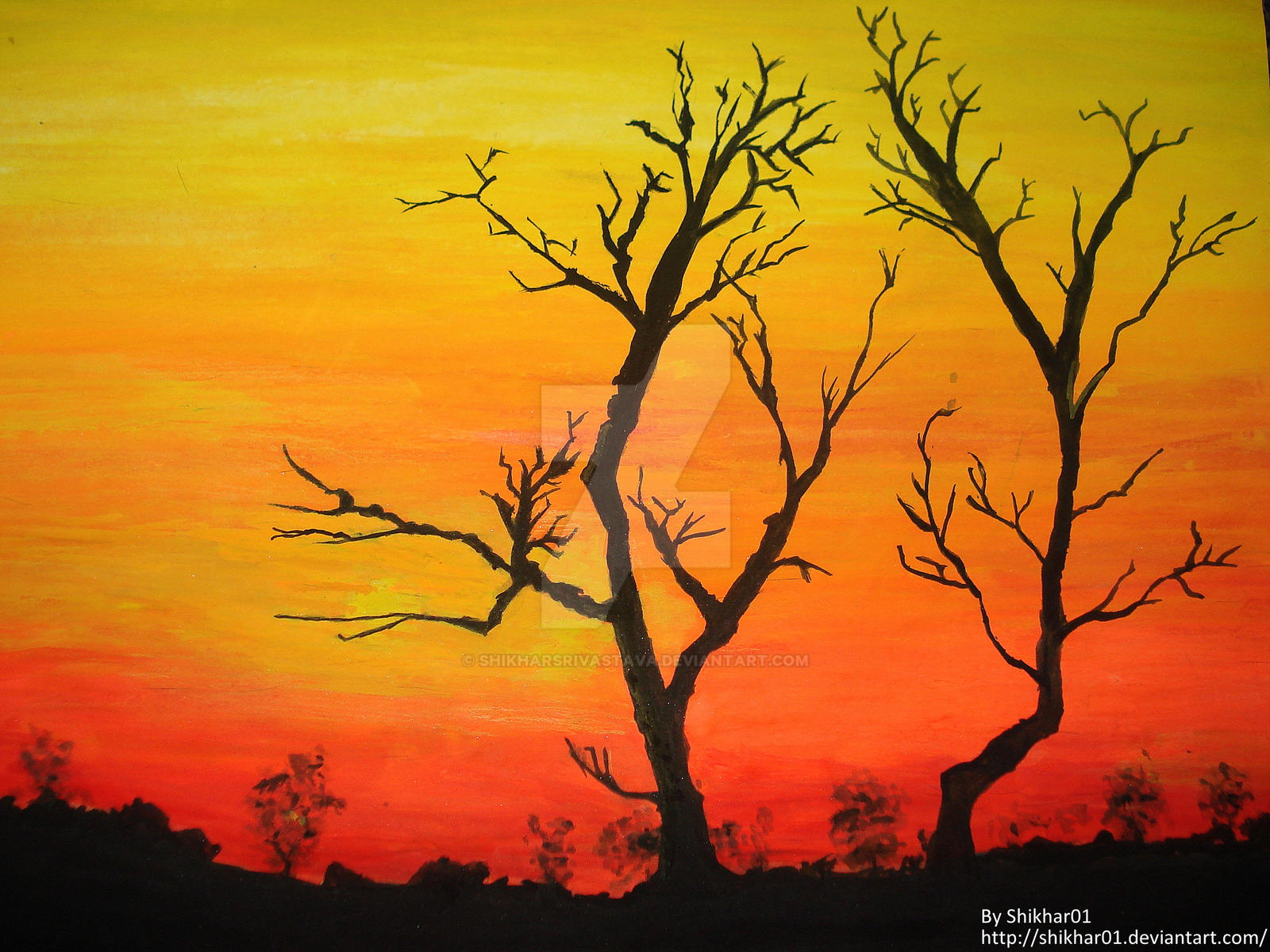 Sunset Water Colour Painting by ShikharSrivastava on DeviantArt