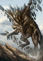 Stone dragon by NightmareMoonLuna