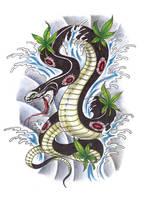 Asian Snake Tattoo Design by konZ3pt