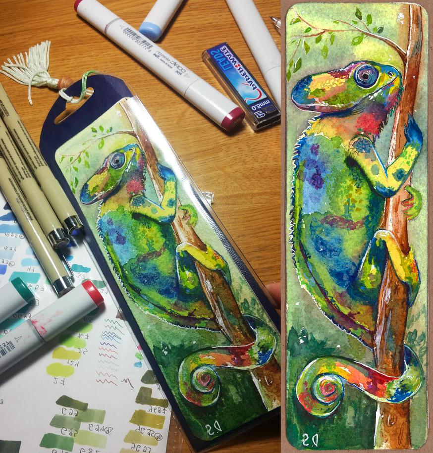 Bookmark chameleon by Maddepos
