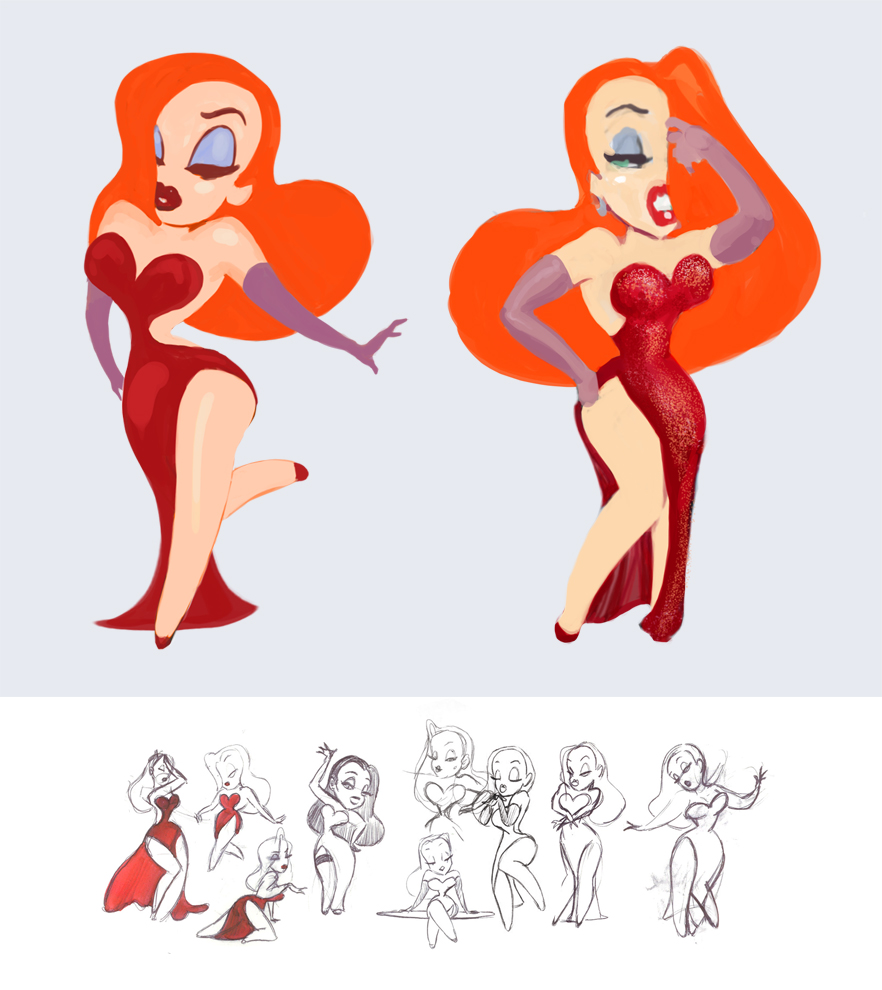 jessica rabbit sketches by madwurmz