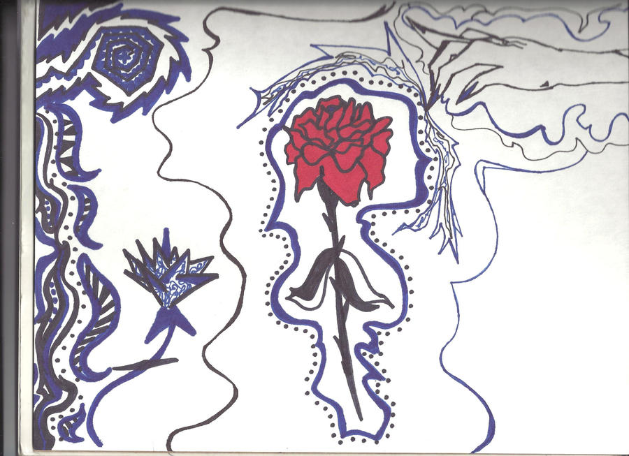 Gangster drawings of hearts and roses