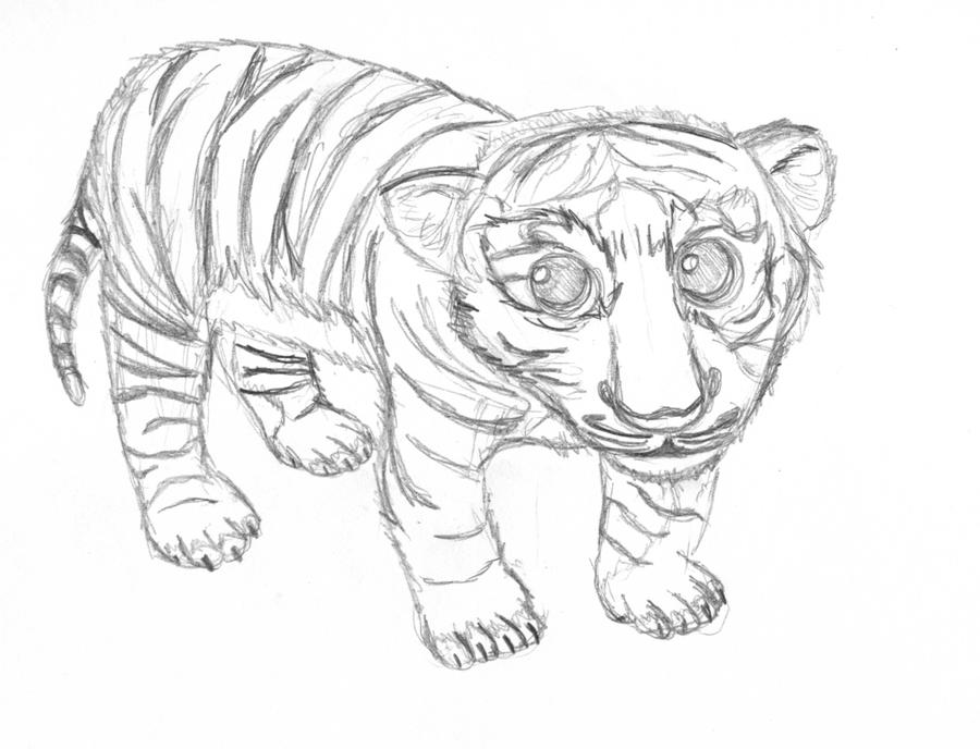Realistic Baby Tiger Drawing Sketch Coloring Page