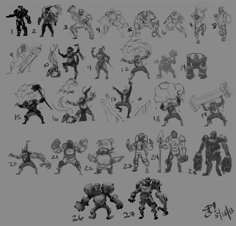 Character Design Concept Art : Concept art training character design thumbs by