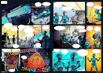 Robots in server space - double comics boards A3