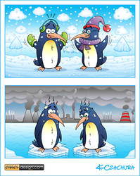 Happy and sad  penguins by KrzysztofCzachura