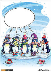 Penguins Card Cartoon Illustration