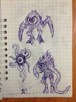 Nameless alien parasites's ballpoint pen concept by ImmortalTartal