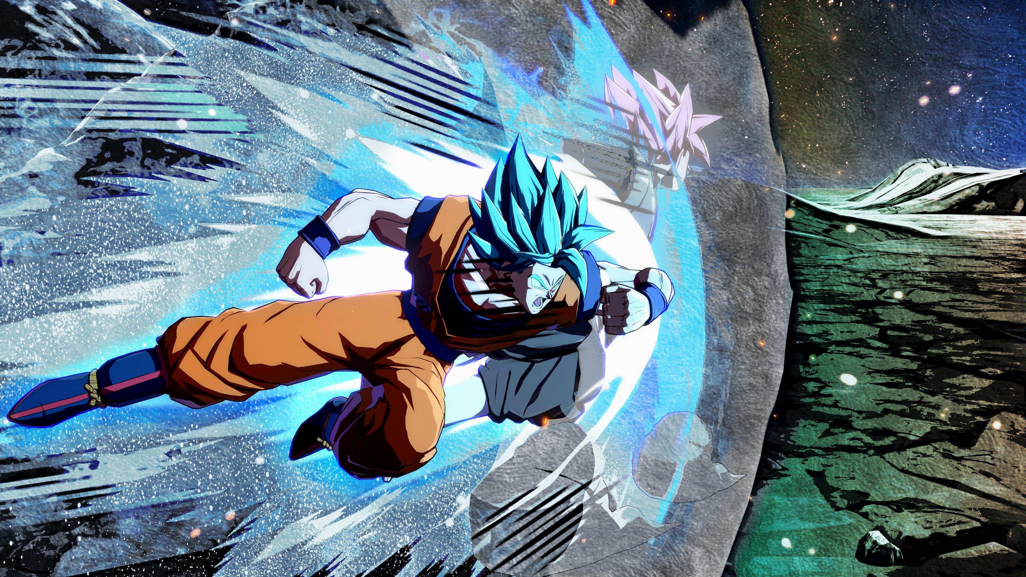 Goku Ssj Blue Vs Goku Black Ssj Rose 4k Wallpaper Dragonballfighterz