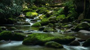 Stream of Mossy Boulders by JonUriah