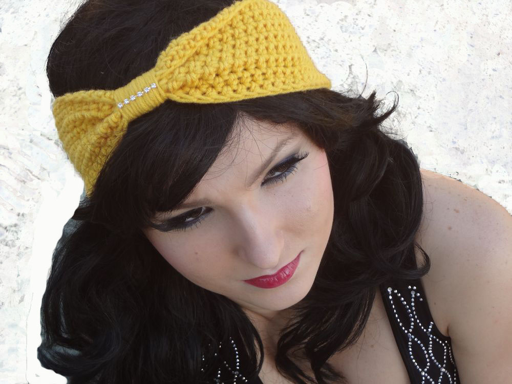 Crocheted Rhinestone Bow Headband Turban Scarf by FashionDivaCrochet ...