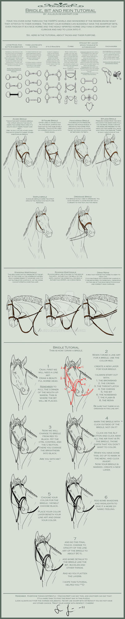 Bridle, Bit and Reins Tutorial by Jullelin