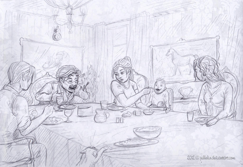 A Discussion at the Dining Table by Jullelin