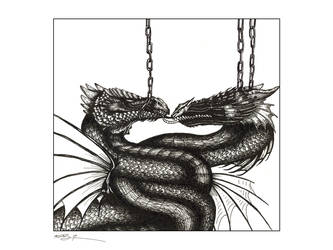 Dragon Chains tech pen drawing by machine-guts