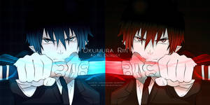 okumura rin blue or red by coralsnowcandy