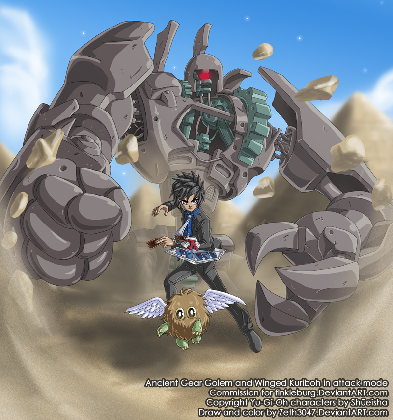 Commission - Ancient Gear Golem and Winged Kuriboh by zeth3047 on