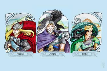 Asgard: Thor, Odin and Loki by dancingheron