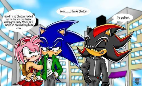 Sonic,Amy And Shadow walking by BunnyTheFox111