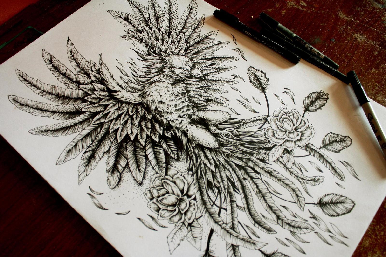 Line Art Tattoos : Phoenix tattoo design ::sold::: by eg thefreak on deviantart