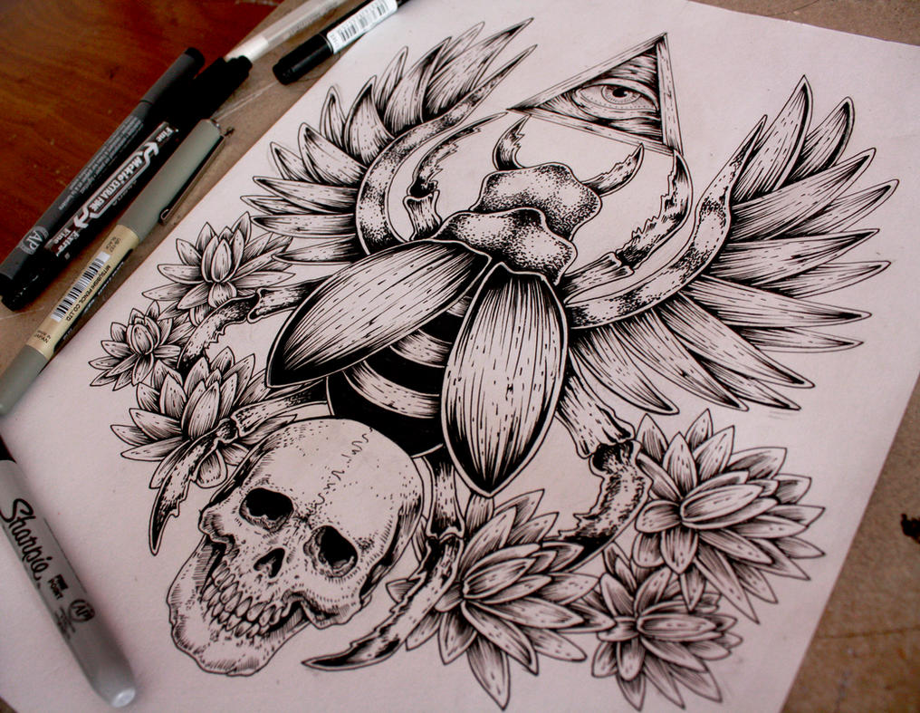 Scarab Tattoo Commission by EG-TheFreak on DeviantArt