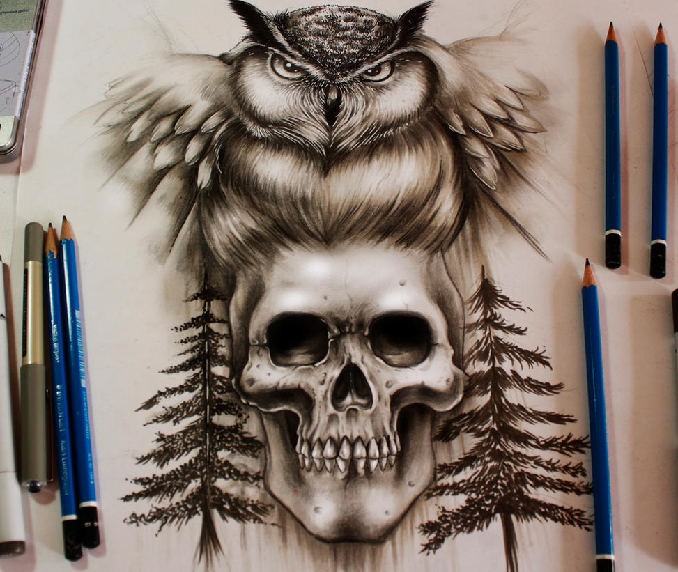 Commission Skull  and Owl Tattoo Desing by EG-TheFreak