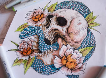 Colored Skull and snake tattoo, by EG-TheFreak