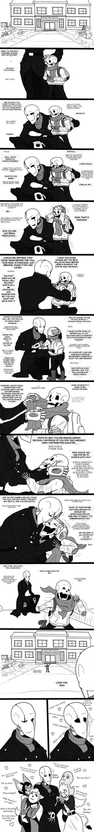 Dadster and Papyrus comic - First day.