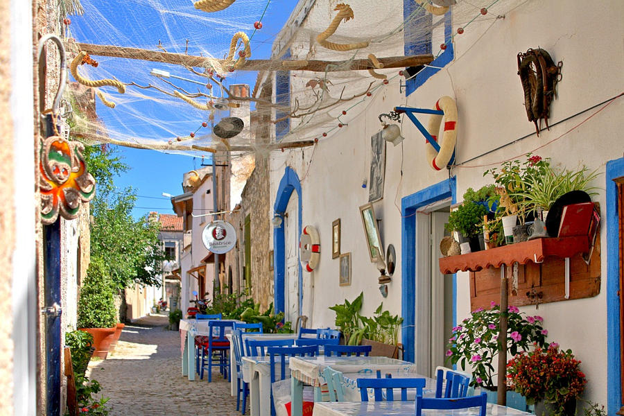 Sea-smelling street in Alacati by cachealalumiere