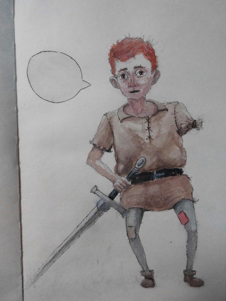 one armed boy by FridlGerken