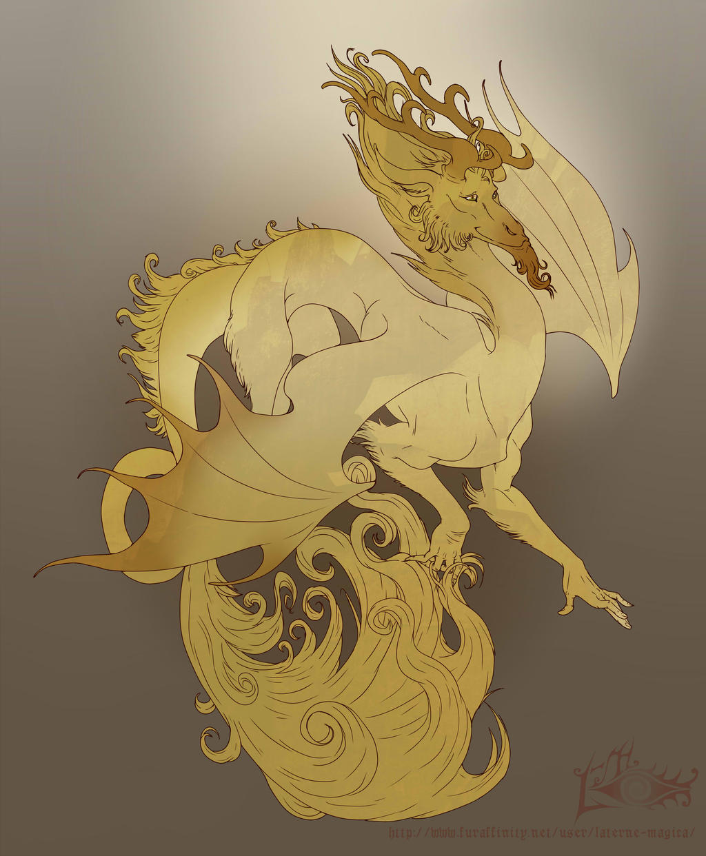 Dragon line art by Laterne-Magica