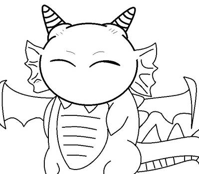 :lineart: dragon chibi XD by deathsbell