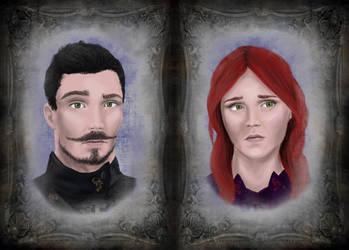 Isaac and Athanesia, Human Warlocks by Ocikitten
