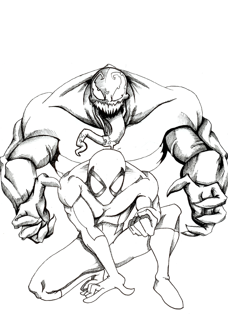 Spider-Man vs Venom Coloring Pages