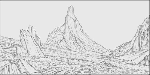 Cliffs lineart by jimspie