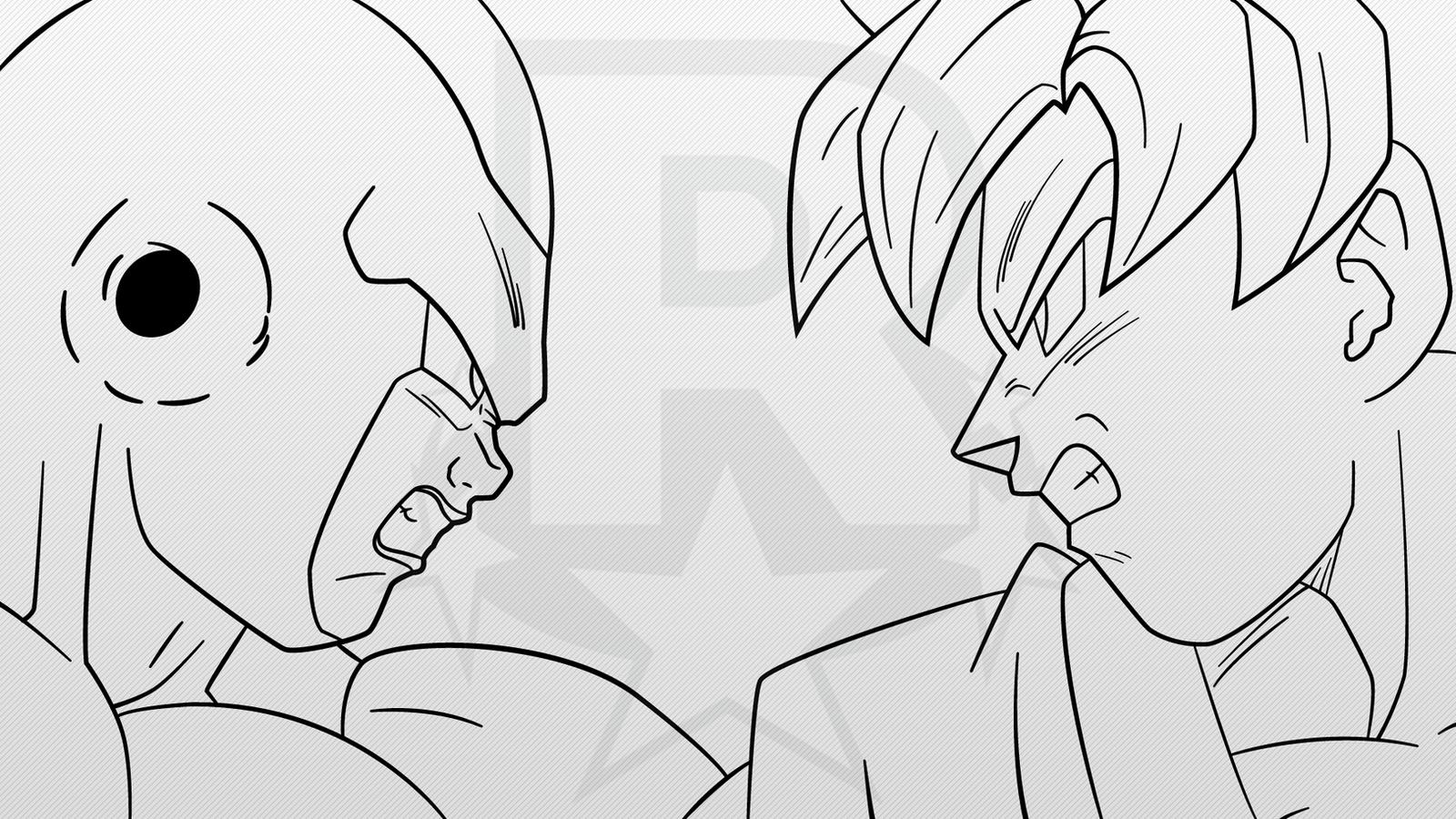 Line Art Vs No Line Art : Super saiyan blue goku vs golden frieza line art by