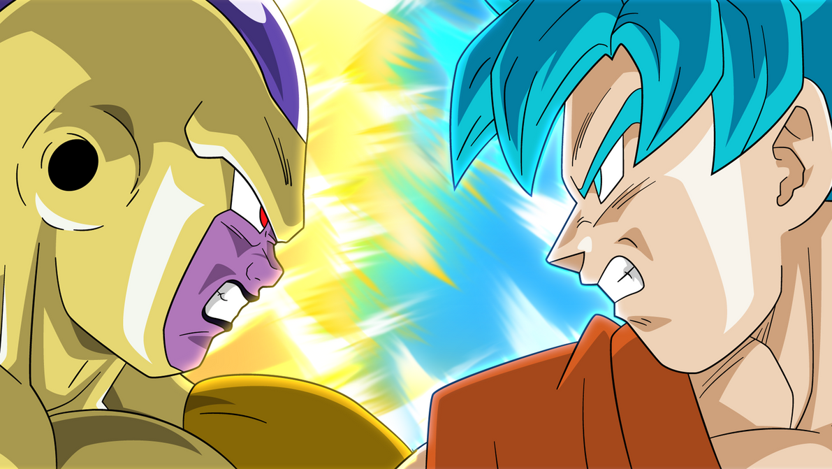 Super saiyan blue goku vs golden frieza aura by - Goku vs vegeta super saiyan 5 ...