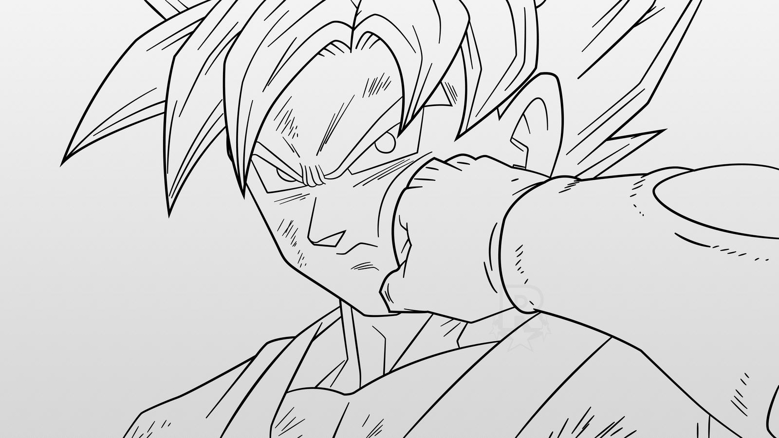 Super Saiyan Blue Goku (Line-Art) By AubreiPrince On