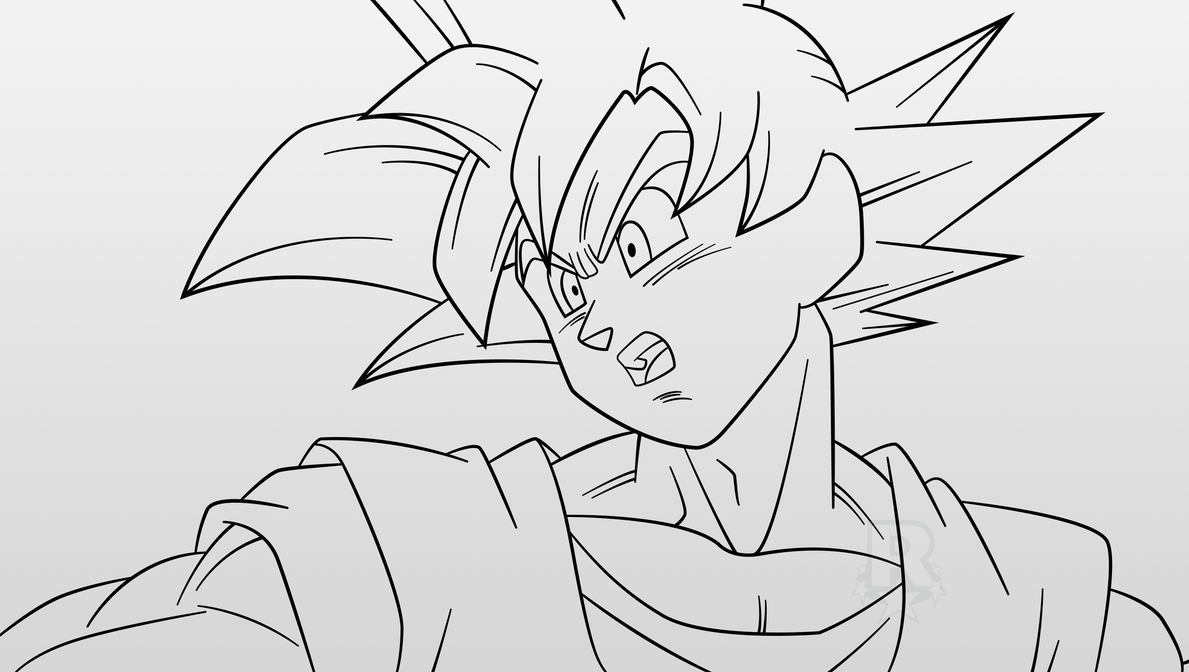 Super Saiyan God Goku #2 (Line-Art) By AubreiPrince On