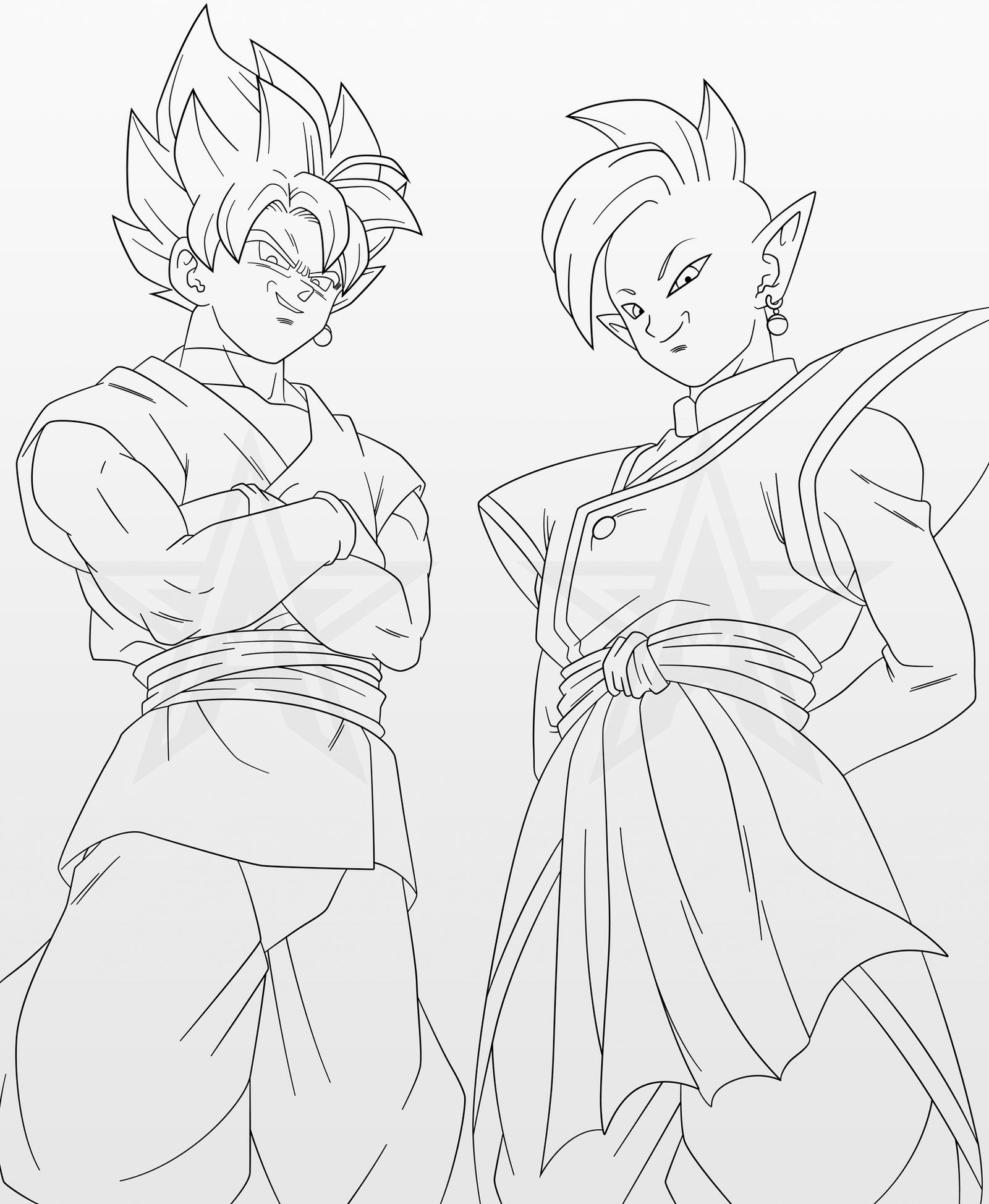 Line Art Vs Sketch : Goku black zamasu line art by aubreiprince on