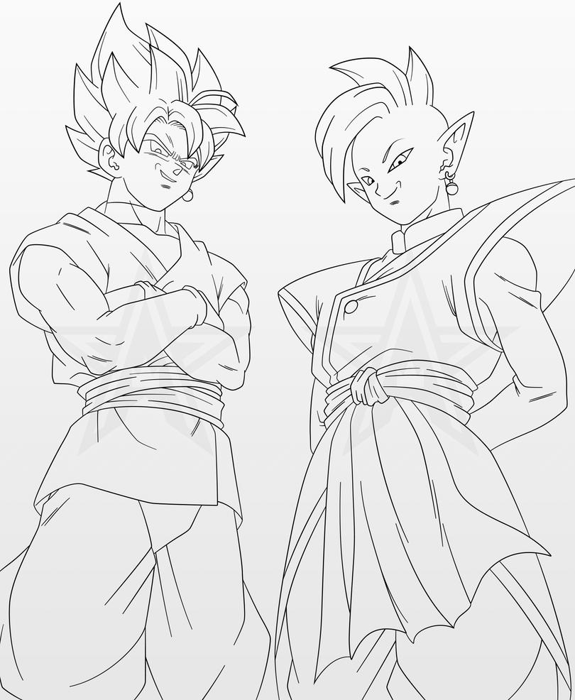Goku Black X Zamasu #1 (Line-Art) by AubreiPrince on ...