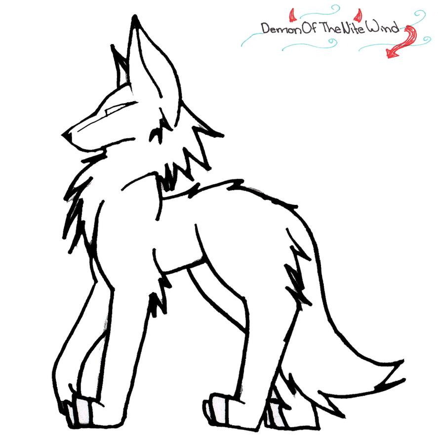 Line Drawing Wolf : Wolf line art by demonofthenitewind on deviantart