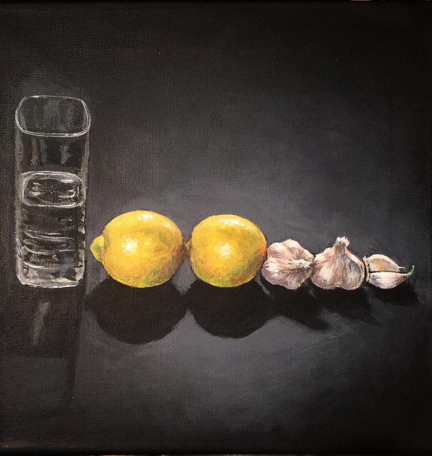 water, lemons, garlic by Flrmprtrix