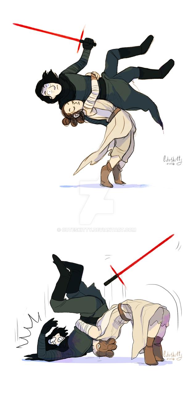 Rey vs Kylo Ren by CuteSkitty