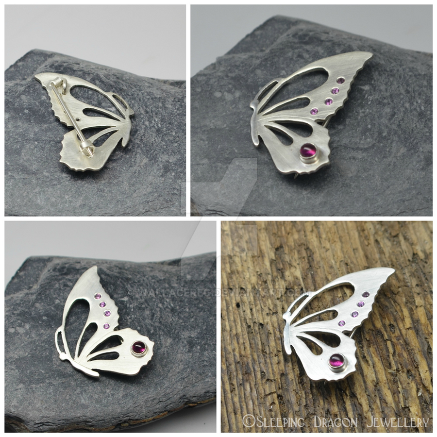 Butterfly Brooch rhodolite garnets by WallaceReg