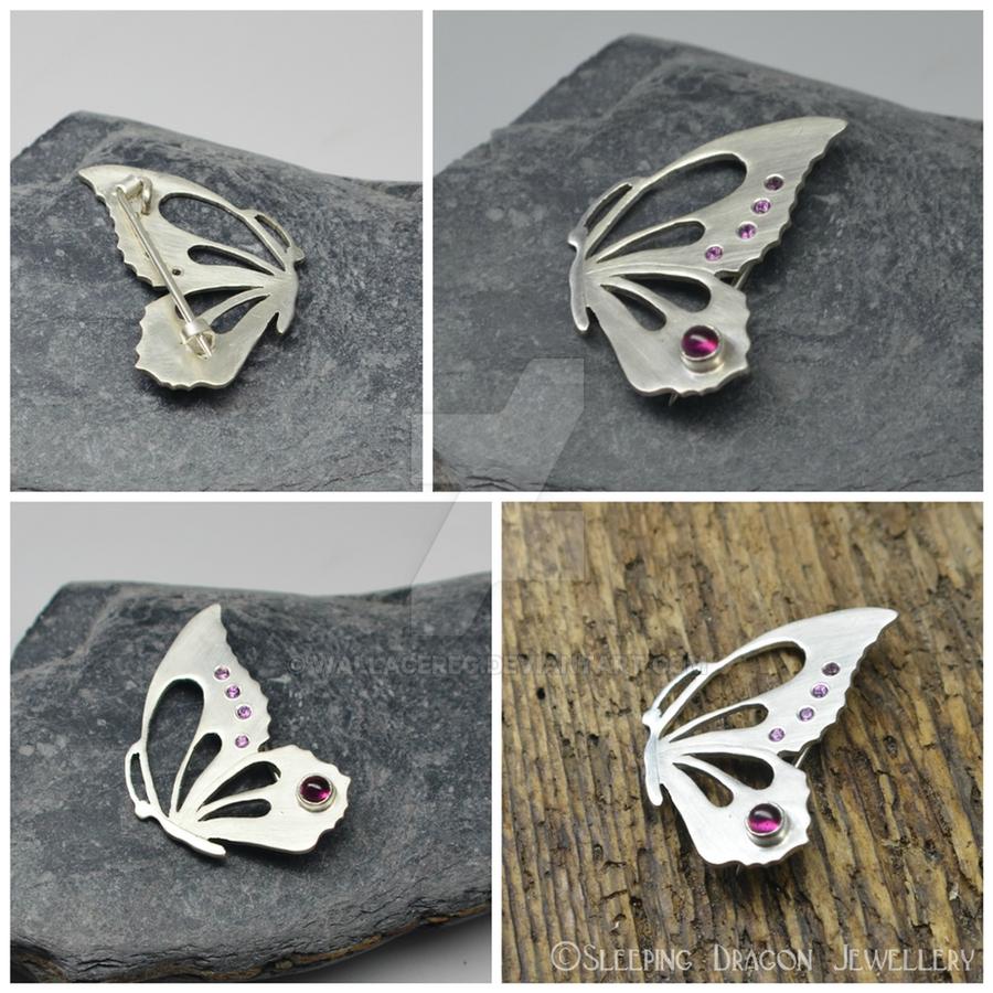 Butterfly Brooch rhodolite garnets by WallaceReg