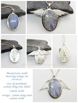 Moonstone Pendant With Moving Wings On Reverse